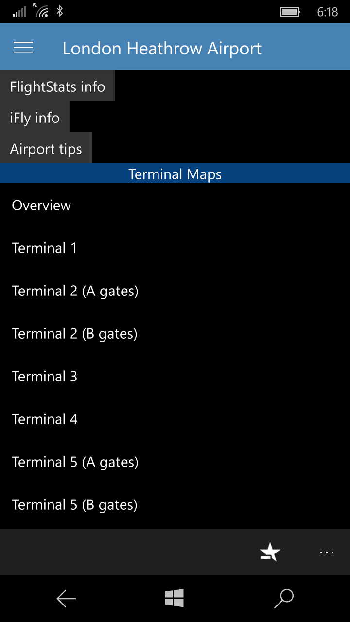 Airport information and list of maps (mobile)