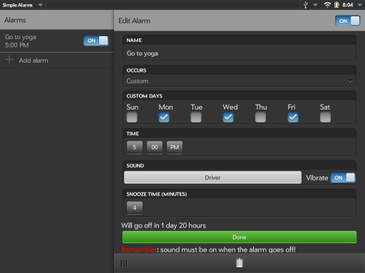 Simple Alarms (for TouchPad) Screenshot 1