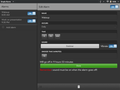 Simple Alarms (for TouchPad) Screenshot 0